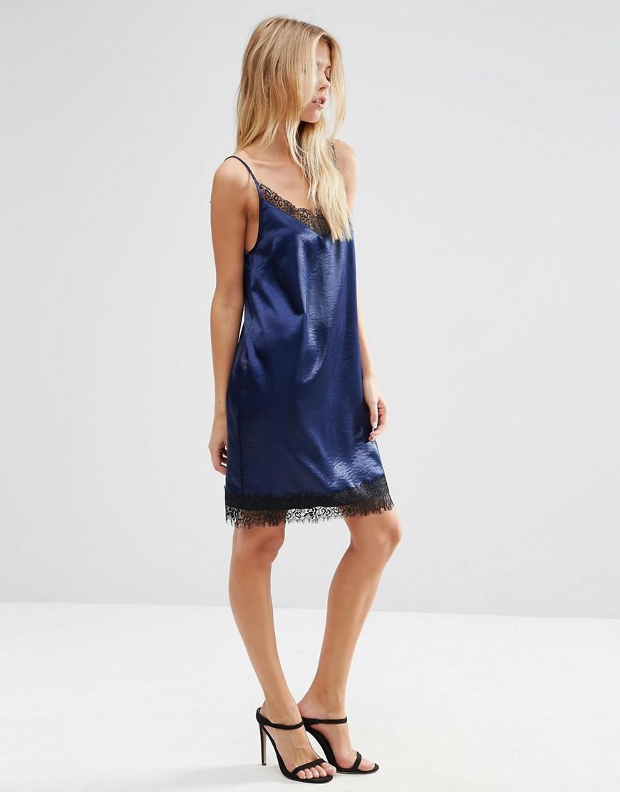 Платье-сорочка мини с кружевной отделкой ASOS