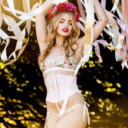 Evgenia Floralia ribbon corset – Maypole, $278