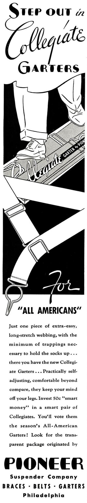 Esquire, December 1, 1934. Advertising for Pioneer sock garters. Pay attention to the buckle from above and to the clamp.