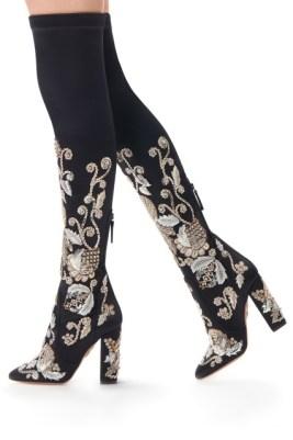 Aquazzura, ботфорты с вышивкой Poison Ivy Boot