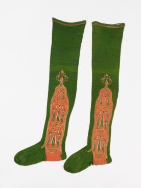 Pair of women's stockings of knitted silk, made in Spain, mid 18th century. Victoria and Albert Museum