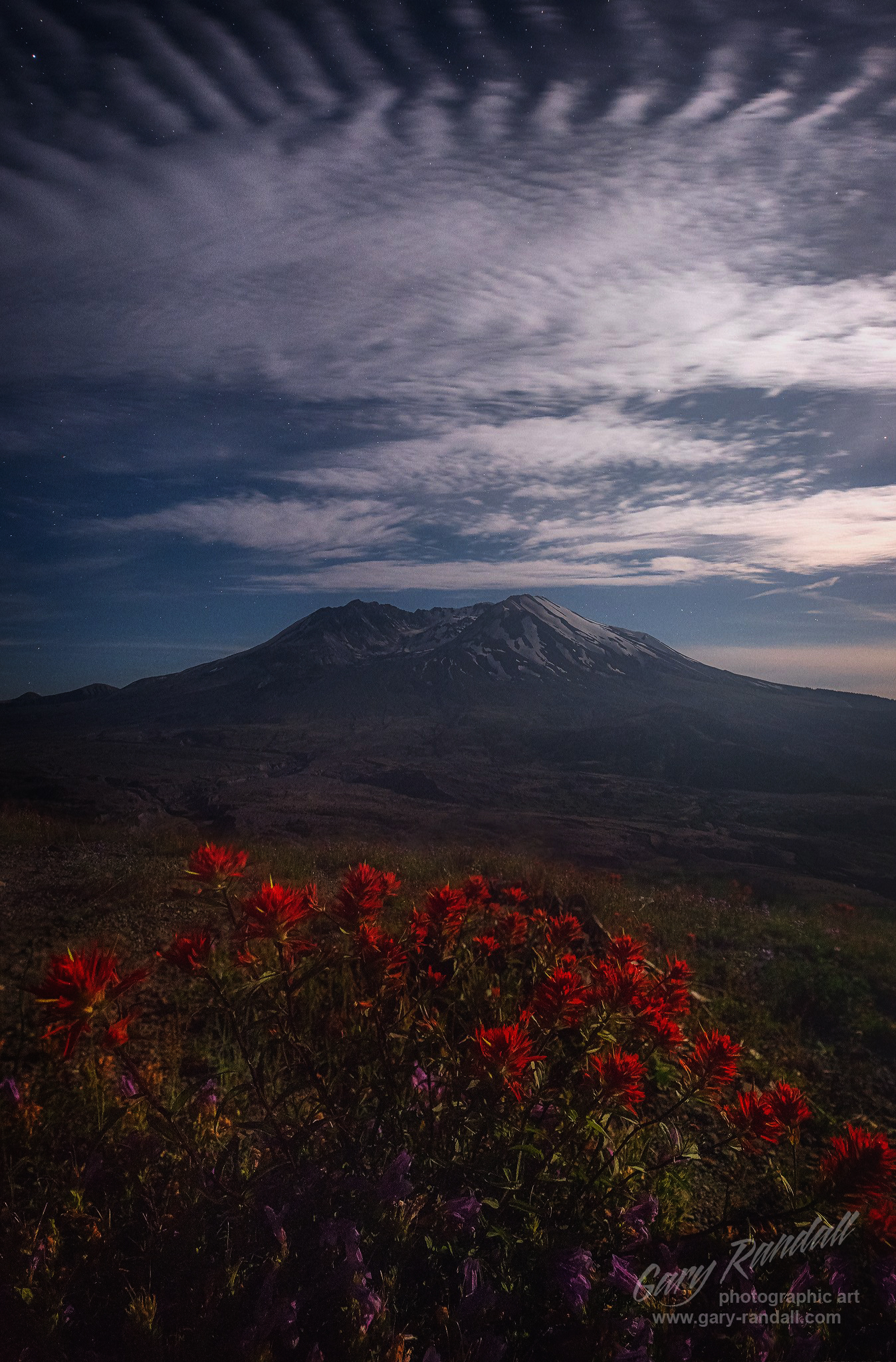 Mount St Helens in the moonlight