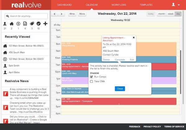 Realvolve Calendar Complete Task