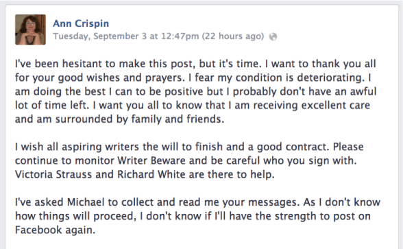 Ann Crispin's Facebook Announcement