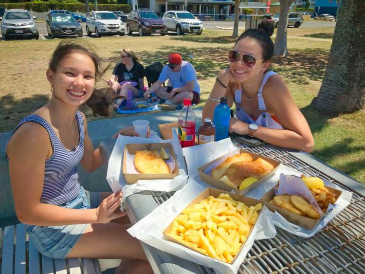 Larissa and Nicola with fish and chips at Sandgate Gary Lum