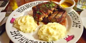 Pork ribs with prime rib and mashed potato and pepper sauce at Hog's Breath Café, Aspley Gary Lum