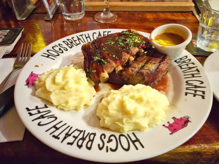 Pork ribs with prime rib and mashed potato and pepper sauce at Hog's Breath Café, Aspley Gary Lum