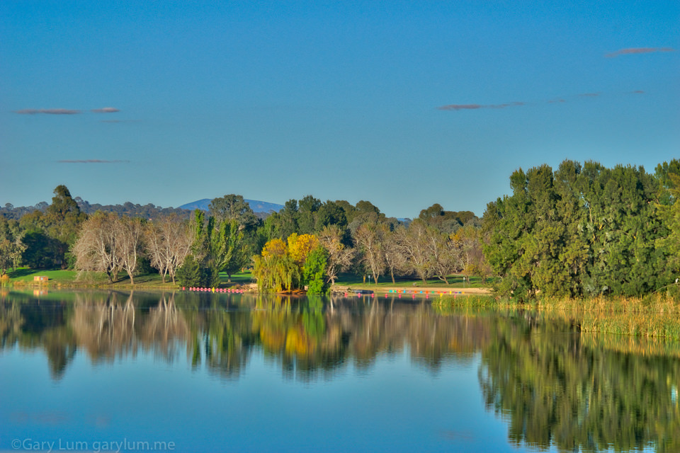 Colourful buoys on Yerra Beach, Lake Ginninderra Reflections Gary Lum