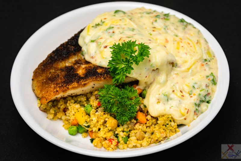Panko crusted salmon with pearl barley couscous and cheesy chilli white sauce Workplace generosity Gary Lum