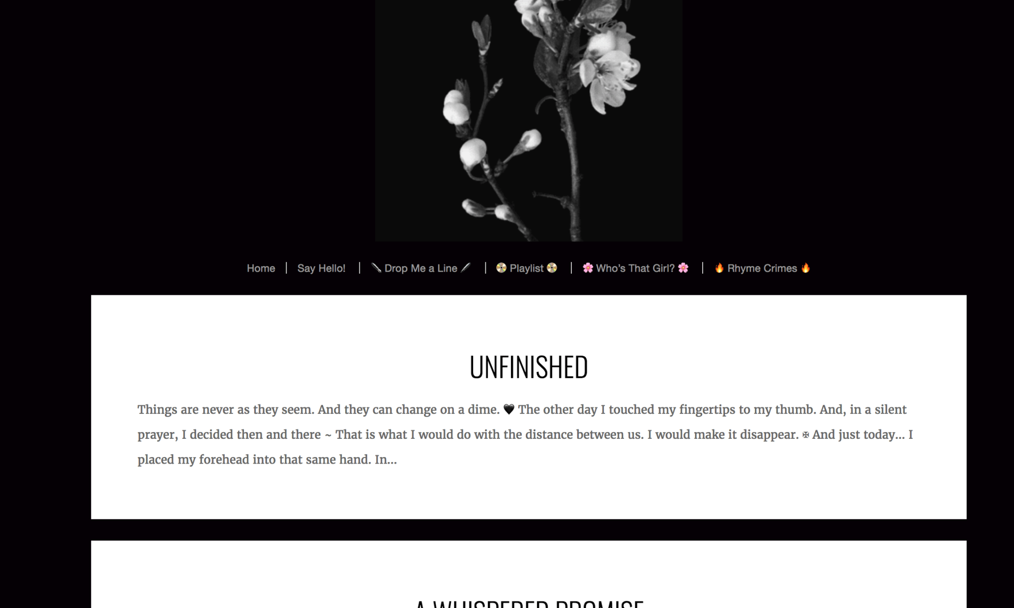 A screenshot from JM's site. I've used this without asking JM. If you click on the image you will be taken to her rhymes page. Shout out just me Gary Lum