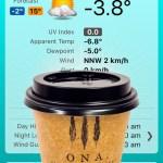 Urban Bean Espresso Bar coffee while it's cold in Canberra –4°C Gary Lum