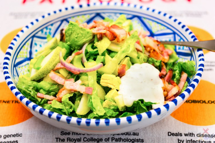 Bacon salad with avocado, lime zest, celery, and pear Gary Lum