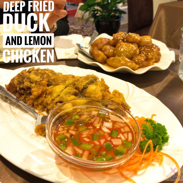 Deep fried duck and lemon chicken from Taste of China