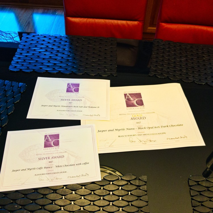 Award certificates for Jasper and Myrtle Chocolates Gary Lum
