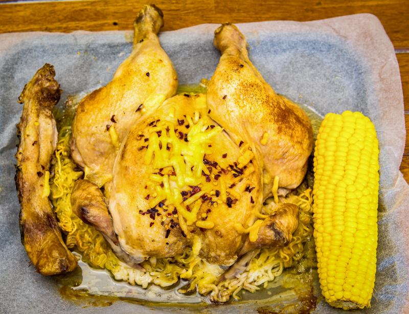 Cheesy roast chicken and corn on crispy noodles Gary Lum