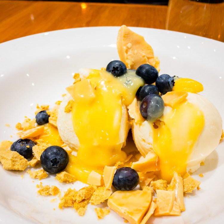 Fruit sundae with white chocolate and honeycomb Gary Lum