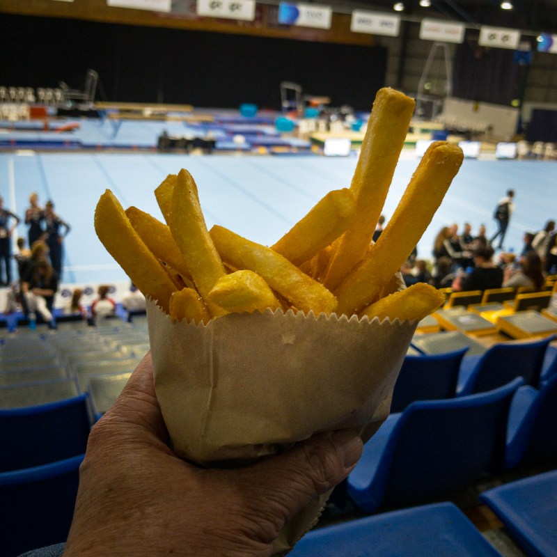Hot chips 🍟 while watching gymnastics Gary Lum