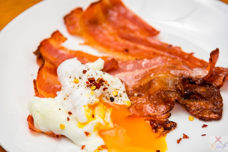 Crispy streaky bacon and a poached egg Diet Coke Gary Lum