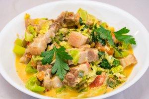 Fast pork rashers and stir-fried cabbage salad Gary Lum
