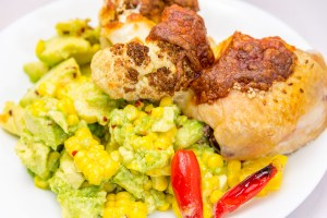 Roast chicken with roasted cauliflower and sweet corn avocado. Stalled weight loss. Gary Lum