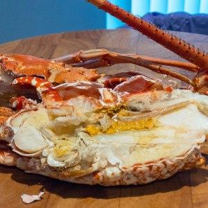 Lobster head split sagittally