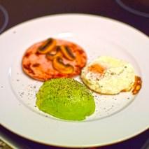 Monday2014-01-20 06.40.38-1AEDT Ham steak breakfast with avocado, fried egg and mushroom.