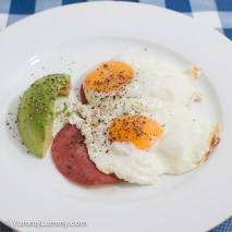 Monday2014-02-17 06.04.03AEDT Fried eggs and salami for breakfast. It included 19g Danish salami and 34g of avocado.