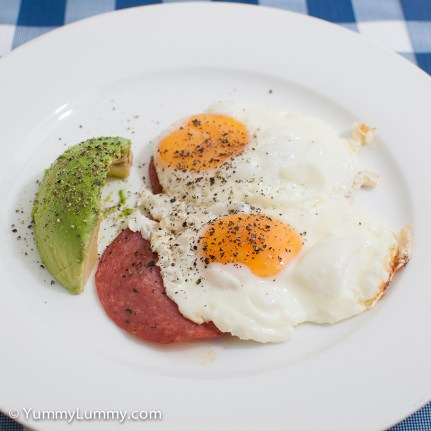 Monday 2014-02-17 06.04.03 AEDT Fried eggs and salami for breakfast. It included 19 g Danish salami and 34 g of avocado.