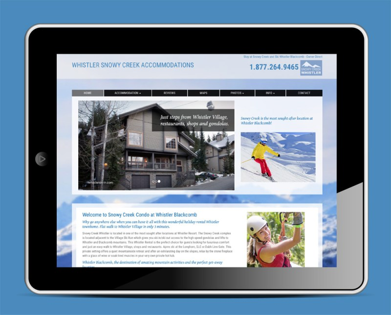 Whistler Snowy Creek Accommodations Website| Home Page