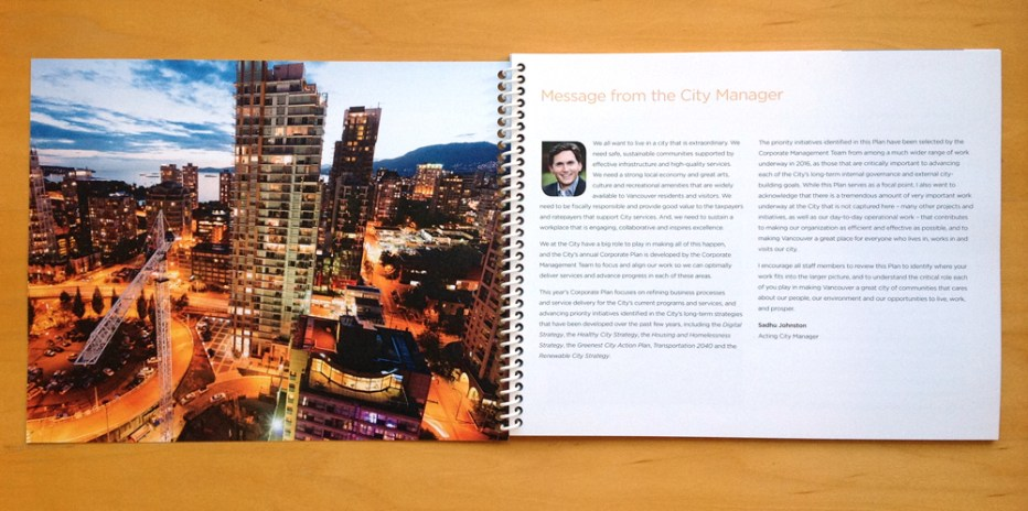 2016 Corporate Plan | Message from the City Manager