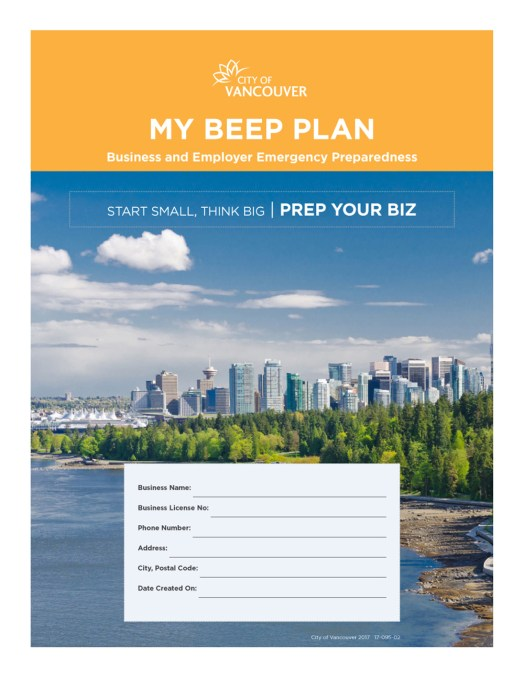 City of Vancouver | My BEEP Plan - Digital Input Forms | Cover