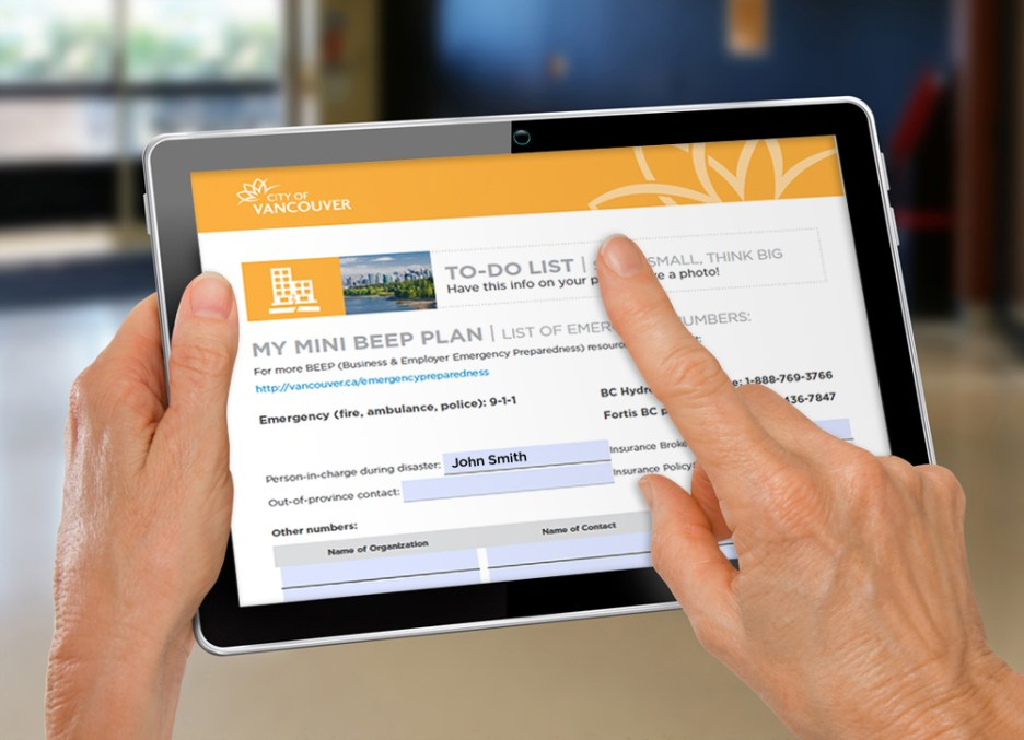 City of Vancouver   Mini BEEP Plan - Digital Input Forms