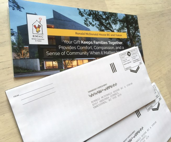 RMHBC | Canada Post Self Return Donation Form