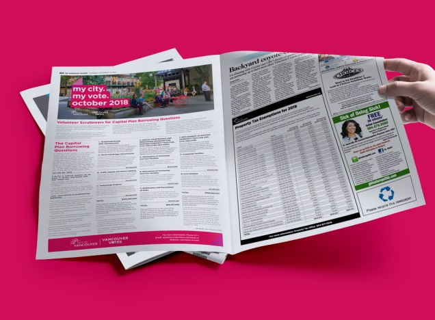 Vancouver Elections 2018 | Courier Ad | September 13, 2018