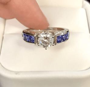 Platinum Tanzanite and Diamond Engagement Ring