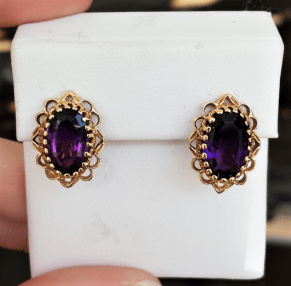 14kt Gold Amethyst Post Earrings