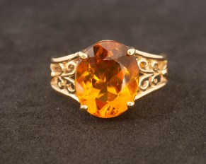 14kt yellow Gold Citrine Filigree Ring