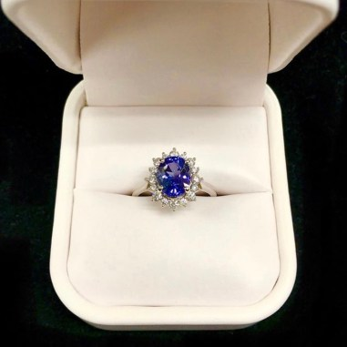 A custom 14kt Diamond and Tanzanite engagement ring