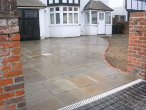 Indian Stone Driveways with Brick Edging by Gary Simes in East Sussex