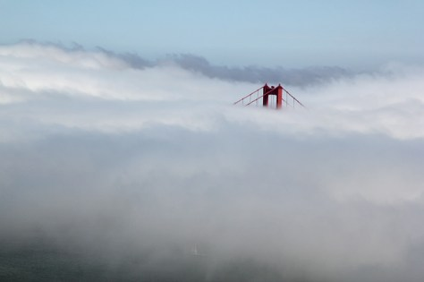 Golden Gate Bridge, south tower in fog zoomed in