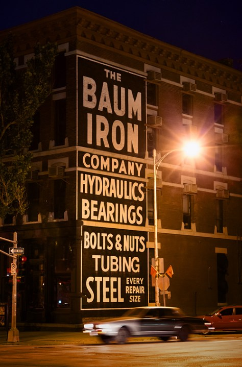 Night shot of the Baum Iron Company Building in Omaha, NE