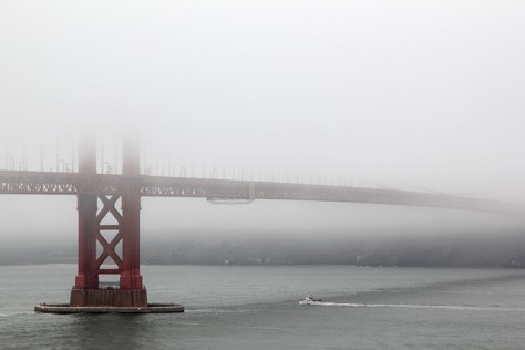 Golden Gate in bright fog