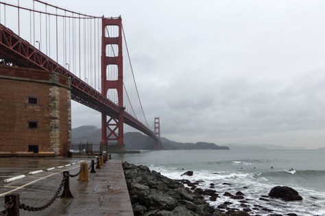 Rainy day view of the Golden Gate Bridge from Fort Point