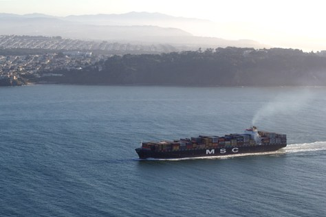 Giant freighter entering the Golden Gate
