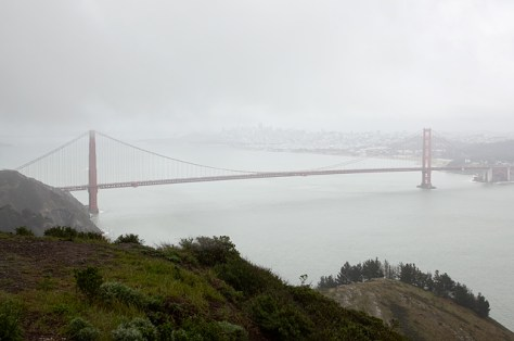 Golden Gate Bridge from the upper Headlands in the rain