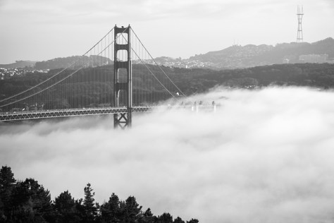 Hazy Golden Gate Bridge with fog