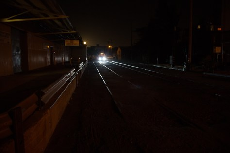 Night view of the old train train route on First Street in Petaluma