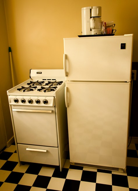 Appliances in a motel kitchen