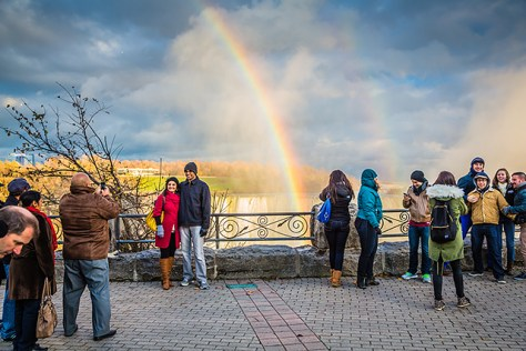 Niagara Falls rainbow with tourists