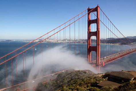 Stream of fog at the north tower of the Golden Gate Bridge.